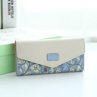 Fashion Floral Folded Wallet Dompet Women Long Tri Fold Purse Buckle Hit Color Envelope Wallet Cash