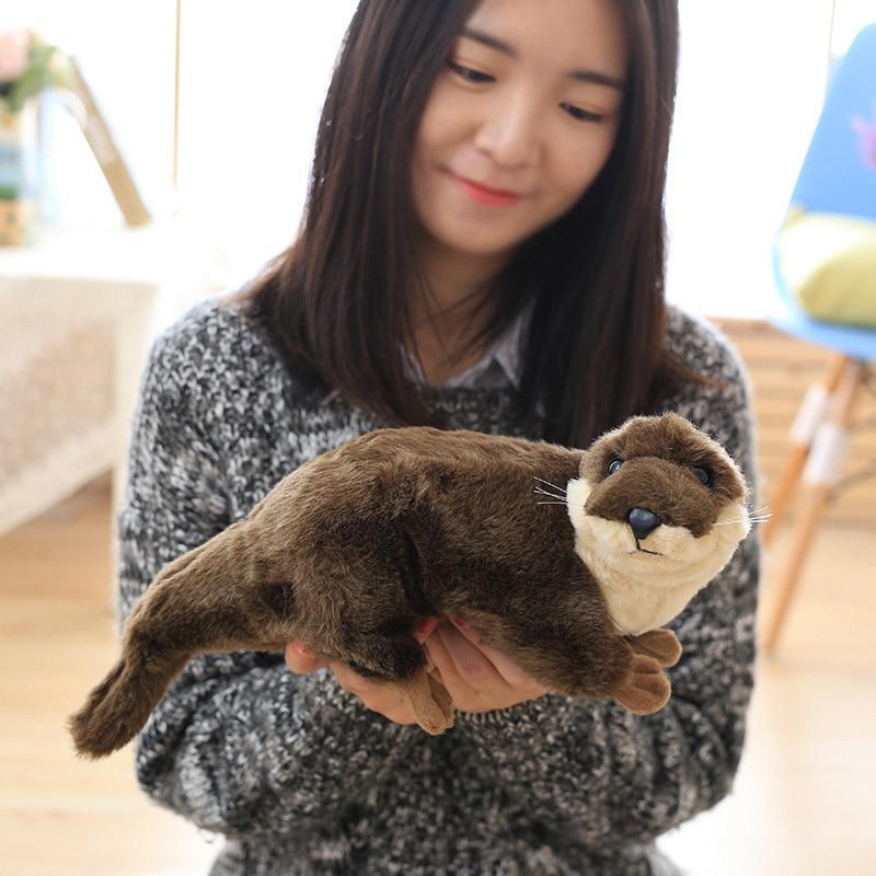 45cm Cute Simulation Otter Plush Toys Pet Mink Stuffed PP Cotton Soft Doll Beautiful Stuffed Animals Children's Birthday Gifts