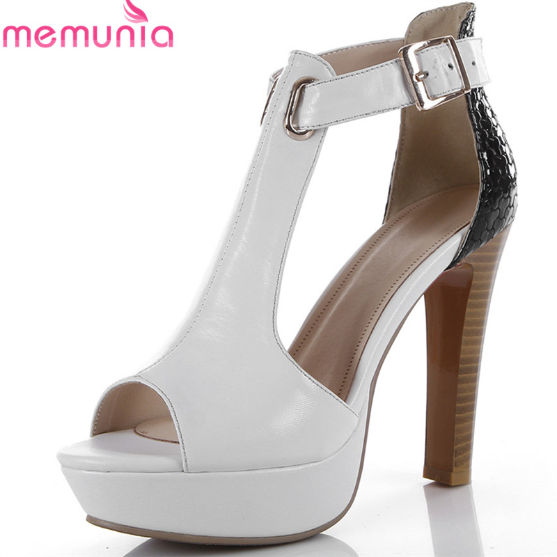 цена на MEMUNIA 2018 new arrive women sandals genuine leather summer shoes peep toe sexy prom shoes big size 33-45 high heel shoes woman