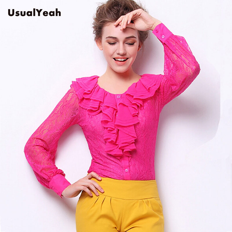 New 2018 Elegant Womens Lace Body Shirt Long Sleeve Work Wear Top Ruffled neck Patchwork Blouse with vest 5 Colors M-XXL SY0271