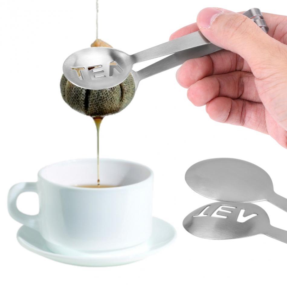 Kitchen Tools Round Shape Tea Holder Tea Bag Squeezer Lemon Grip Teabag Tongs