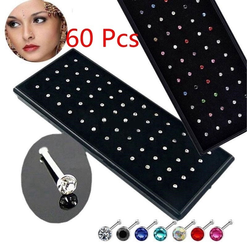 60 Pieces Pack Stainless Steel Crystal Nose Ring Set Women Girl