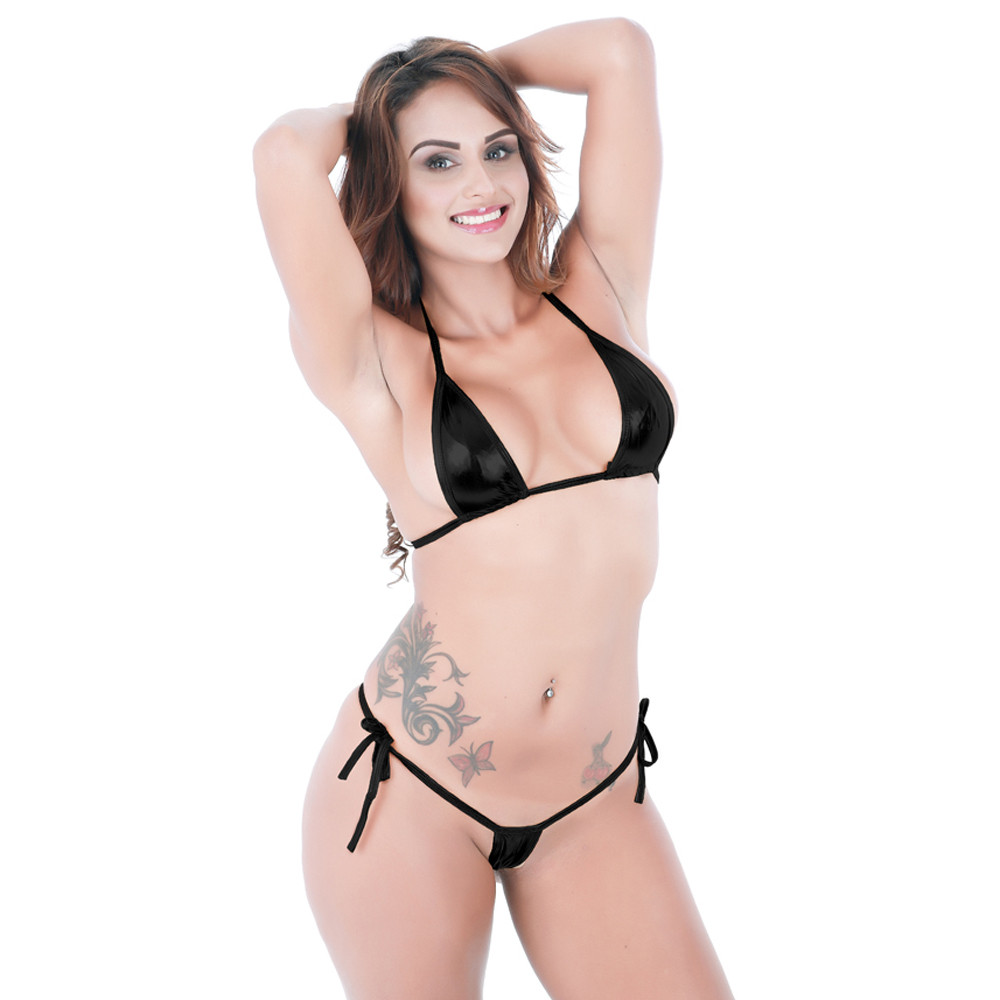 Sexy Solid Halter Lace Up Thong Bikini Swimwear Women Swimsuit Micro Bikinis 2019 Mujer Biquinis Feminino Maillot De Bain Femme