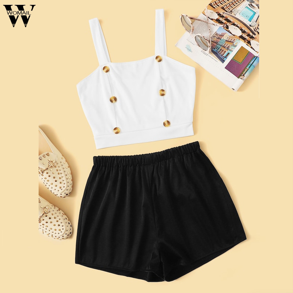 Womail Summer tracksuit Women Set 2PCS Fashion Sexy Camis Front Crop Top + Solid Shorts Set Sports Simplicity beach holiday J620