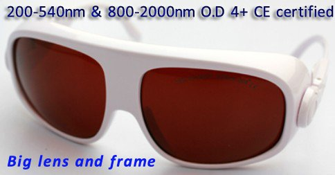 Laser safety goggles 200-540nm & 800-2000nm O.D 4+  CE certified, bigger lens and frame maritime safety