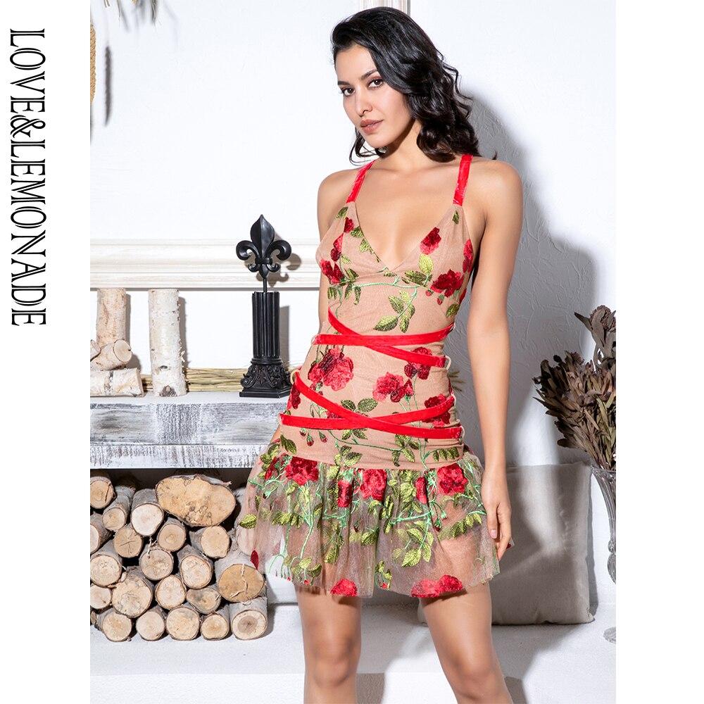 Love&Lemonade Nude Mesh Embroidery Dress LM81683