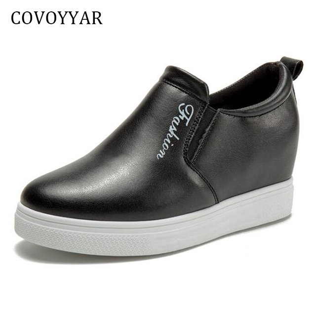 COVOYYAR 2019 Women's Casual Shoes Spring Autumn Hidden Heel Platform Ladies Flats Black\White Women Shoes WSN601
