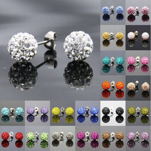 Free Shipping 19 Color 10MM Trendy Brand Earrings Top Quality Ball Crystal Stud Earring For Women Wholesale Fashion Jewelry