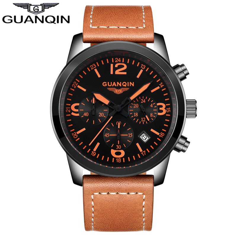 ФОТО GUANQIN GS19037 Sport Watches Men Leather Quartz Watch 4 Colors with Calendar Male Waterproof Outdoor Clock with 3 Small Dials