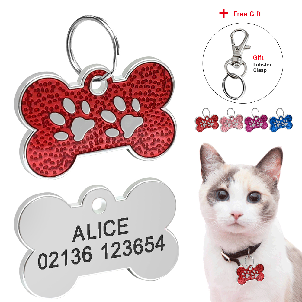 Paw Print Cat Dog Id Tag Personalized Kitten Puppy Tags Engraved Cats Dogs Nameplate Anti-lost Free Engraving Gift Drop Shipping
