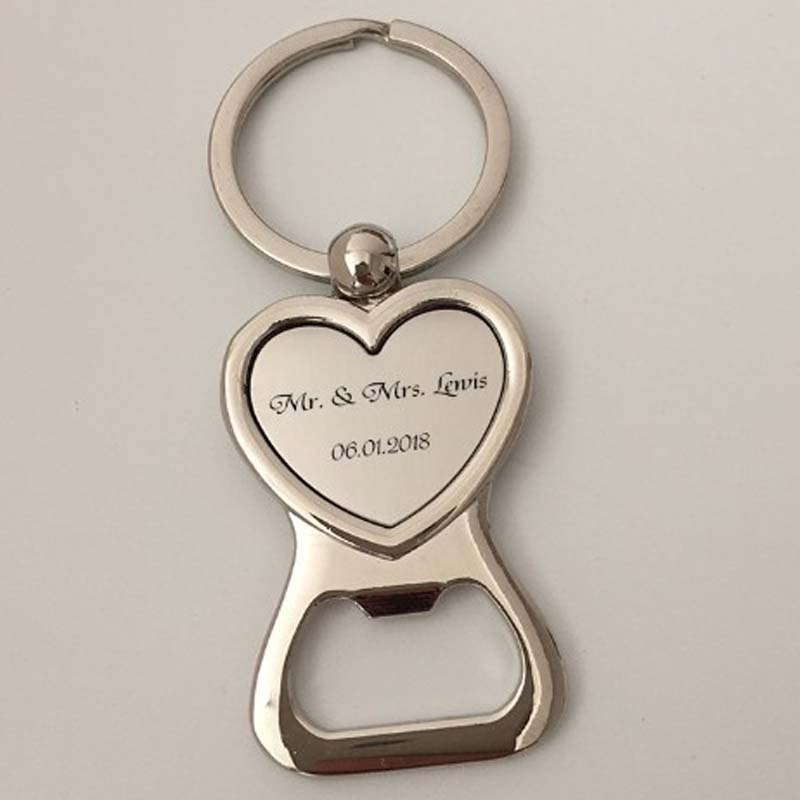 100Pcs Personalized Wedding Gifts For Guests Heart Bottle Wine Opener Keychain Wedding Favor Birthday Party Souvenir