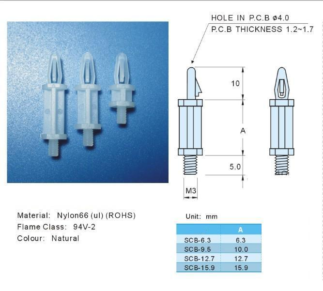 """Details about  /Lot Snap-in Adhesive Nylon PCB Standoff Spacer Pillar Supports 4.00mm 5//32/"""" hole"""
