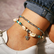 TTLIFE Bohemian Multiple Layers Starfish Turtle Beads Anklets For Women Vintage Boho Shell Chain Anklet Bracelet Beach Jewelry