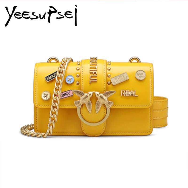 YeeSuPsei Genuine Leather Women Handbag Hasp Box Totes Female Metal Badges Shoulder Bags Swallow High-grade Soft Flap Bag
