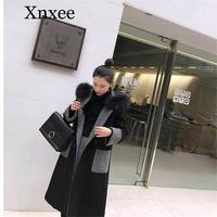Xnxee 4xl 5xl Plus Size New Arrival Korean Style Female Patchwork Black Wool Coat Fur Collar Woman Coats Winter 2019