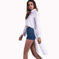 New Fashion Frühling Weiße Baumwolle Crop Shirt Frauen Tops Schwalbenschwanz Langarm Split High Low Taste Bluse Freizeitkleidung 1468