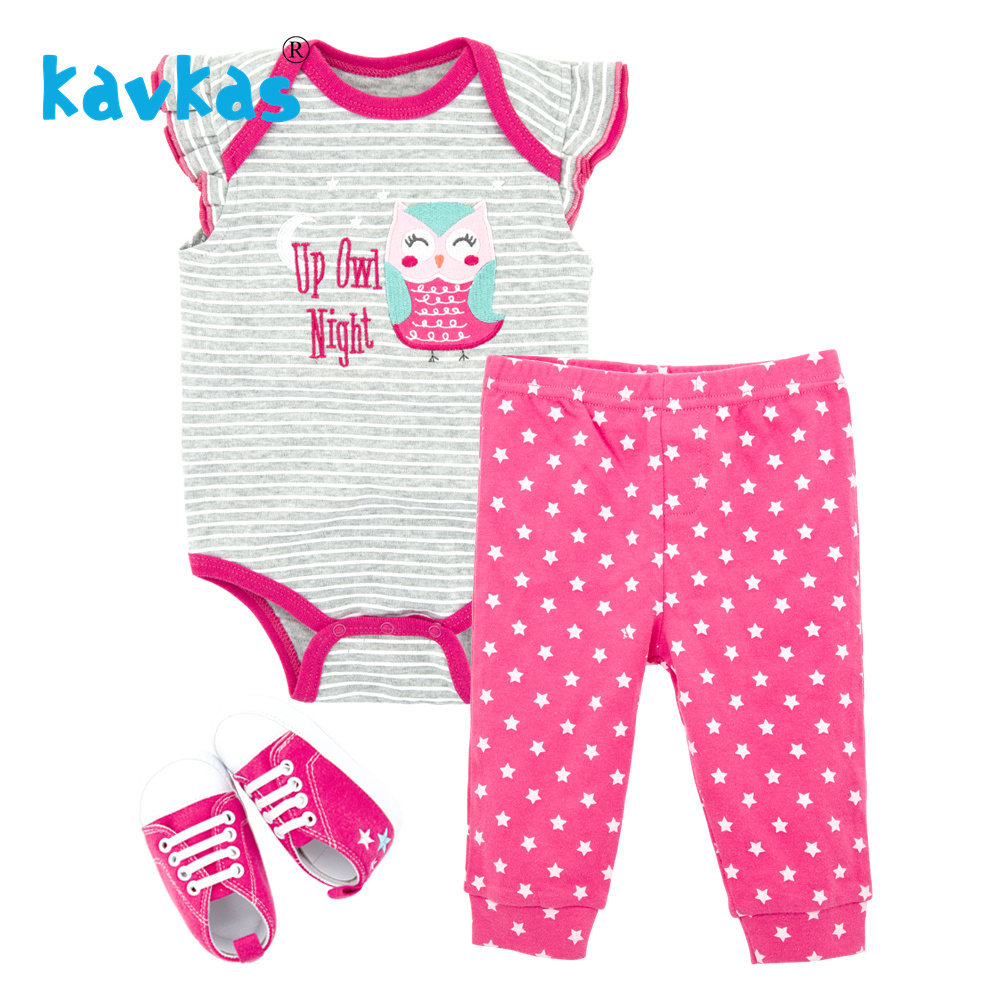 Kavkas Infant Newborn Baby Girls Clothing Set Short Sleeve Tops Romper Pants Shoes Outfits Cotton Suit Summer Sets