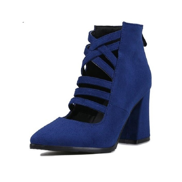 0ca645da2f8 High Heeled Pointy Toe Women Ladies Sexy Cutout Faux Suede Pumps Ankle Strap  Zip Chunky Heels Black Blue Red High Heel Shoes