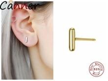 CANNER Geometric Stud Earrings For Women Stick 925 Sterling Silver Punk Minimalism Ear Jewelry Gifts F40