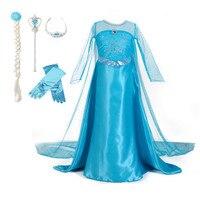 3-10 T Filles Costume Elsa Princesse Parti Robe avec Couronne Baguette Gant Tresse Halloween Noël Cosplay Vêtements pour bébé Filles
