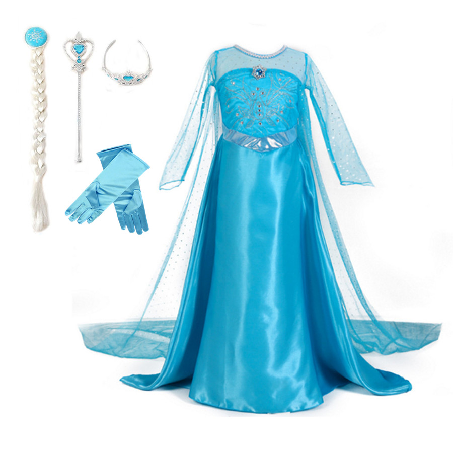 3-10T Girls Costume Elsa Princess Party Dress with Crown Wand Glove Braid Halloween Christmas Cosplay Clothes for Baby Girls girls elsa dresses blue sequinned lace long sleeve cosplay costume with without hair tiara accessory set baby girls clothes