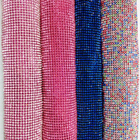 ZY Glitter 45x120cm Rianbow Pink Blue Rhinestone Metal Mesh Fabric Metallic Cloth Metal Sequin Sequined Fabric