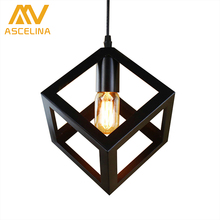 pendant lamp American village square pendant creative living room light loft of the Quartet iron lighting bedroom balcony