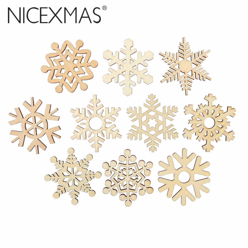 10pcs Assorted Wooden Snowflake Cutouts Craft Embellishment Snowflake Christmas Decorations For Home Merry Christmas Ornament christmas ornament