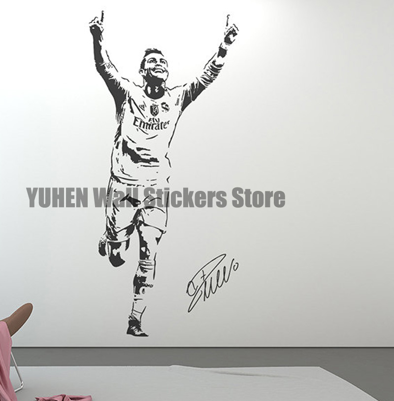 Football Star Ronaldo Figure Wall Decals Sports Stickers Children Room Bedroom Dorms Living Room Glass Removable Wallpaper