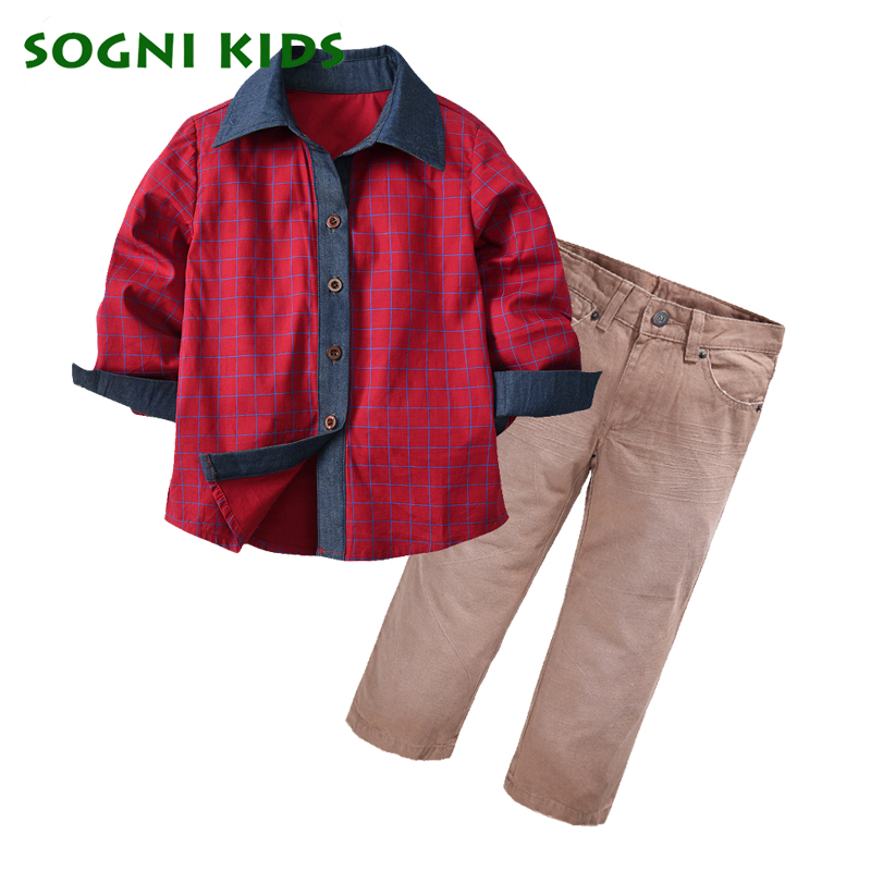 Children's Boys Clothing Set Long Sleeve Plaid T Shirt+Pants Clothes Suit 2018 Brand Gentleman Suit Sport Wear Party Costume 2017 new boys clothing set camouflage 3 9t boy sports suits kids clothes suit cotton boys tracksuit teenage costume long sleeve