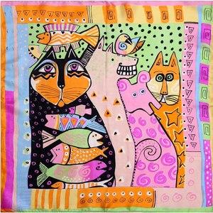 Image 3 - 100% Silk Scarf Women Scarf Cat Scarf Silk Big Bandana 2019 Hijab Print Cat Fish Middle Square Silk Scarf Wrap Hot Gift for Lady