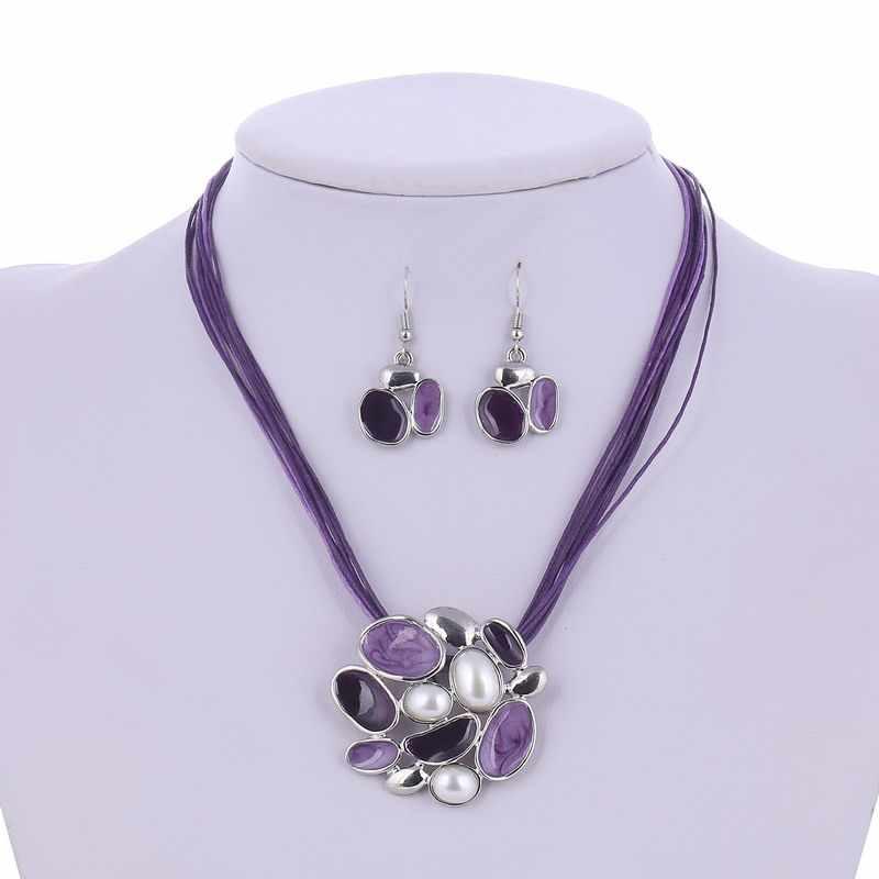 Zoshi 2 pçs conjuntos de jóias africanas prata chapeamento gem flor simulada pérola couro corda pingente colar brincos conjunto