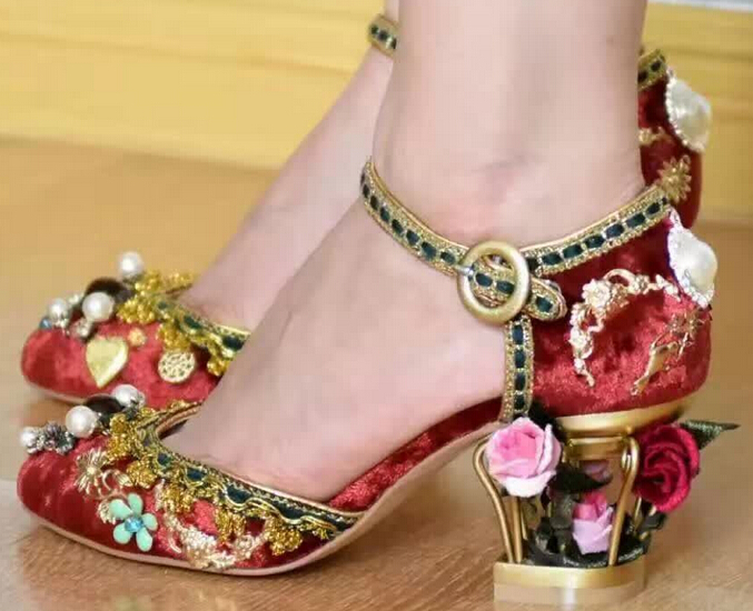 2016 Luxury Vintage Women 7CM High Heels Birdcage Flowers Heel Ankle Buckle Women Pumps Wedding Shoes Woman Stiletto Shoe