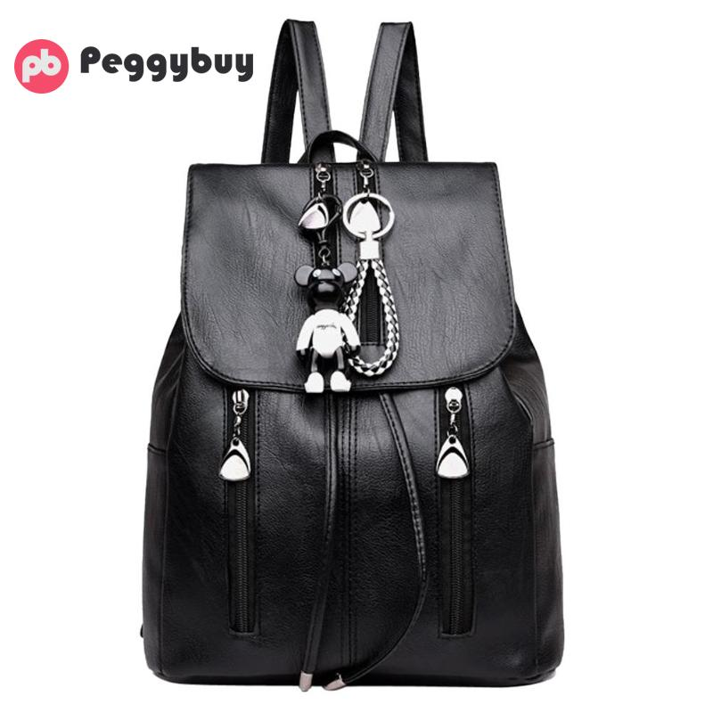 High Quality PU Leather Backpack Woman Fashion Drawstring Designer Female Rucksack School Bag for Teenage Girls Mochila Feminina simple style backpack women genuine leather shoulder bag for teenage girls fashion vintage rucksack designer school mochila