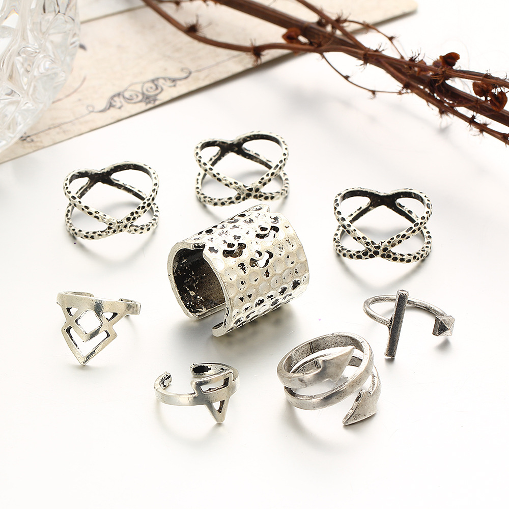 Antique Silver Plated Cross Rings Set Hollow Arrow Triangle Midi Knuckle Open Ring Adjustable Women Finger Jewelry 8 pcs/Set