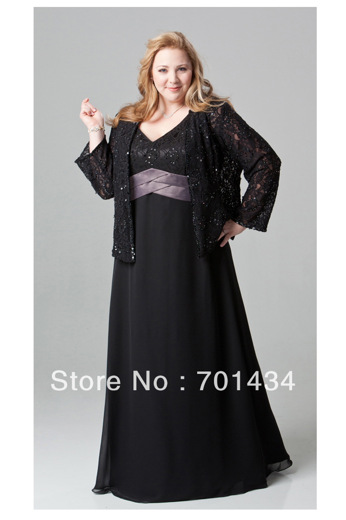 Free shipping v neck elegant lace and chiffon black mother for Plus size black dresses for weddings