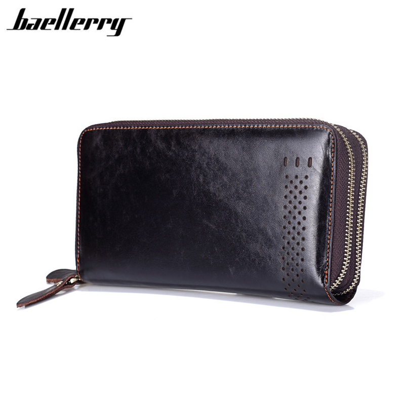 Luxury Designer Genuine Leather Men Wallets Casual Hollow Out Double Zipper Wallet Male Dollar Price Card Holder Cell Phone Bag hot sale 2015 harrms famous brand men s leather wallet with credit card holder in dollar price and free shipping