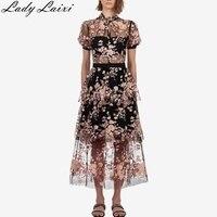 Self portrait Runway Desigher dress Embroidery Sequined Flower Mesh Dress 2019 Summer Women High Waist Party Long Dress