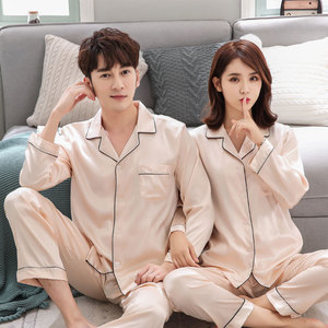 Image 5 - BZEL Couple Pajama Set Silk Satin Pijamas Long Sleeve Sleepwear His and her Home Suit Pyjama For Lover Man Woman Lovers Clothes