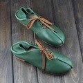 Женская Обувь Плоский Круглый Носок зашнуровать 100% Натуральная Кожа Дамы Плоские Туфли Slip on Мокасины Обувь Женская (1305-2)