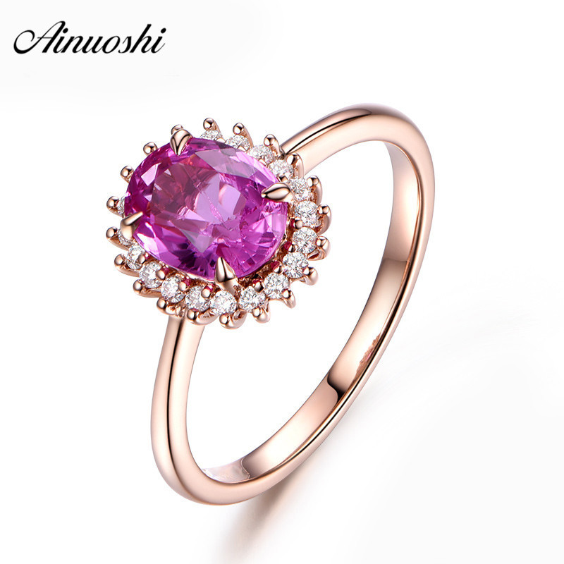 AINUOSHI 1.25 Carat Oval Cut Red Sona Halo Ring 925 Sterling Silver 4 Prongs Rose Gold Color Wedding Party Princess Jewelry Ring