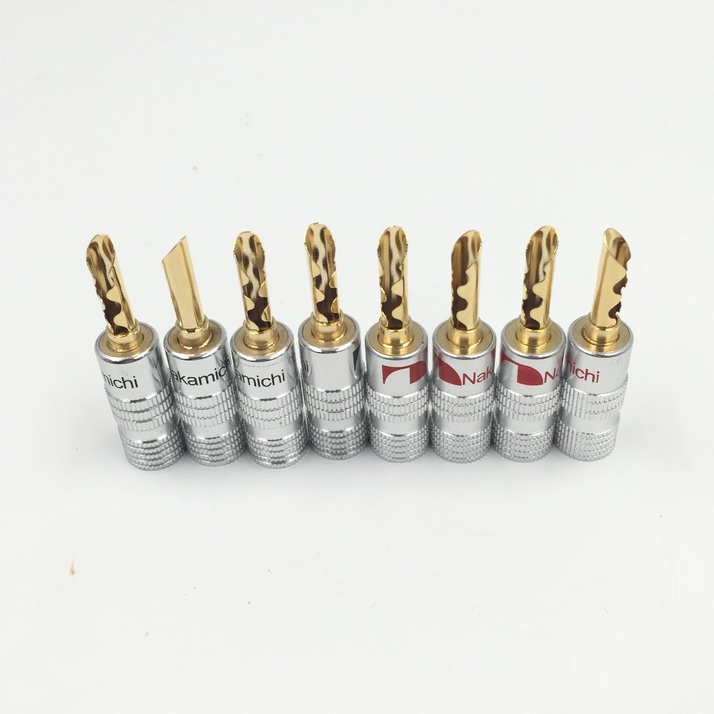 8pcs Nakamichi 24K Gold Plated Copper BFA 4mm Banana Plug Male Speaker Connector