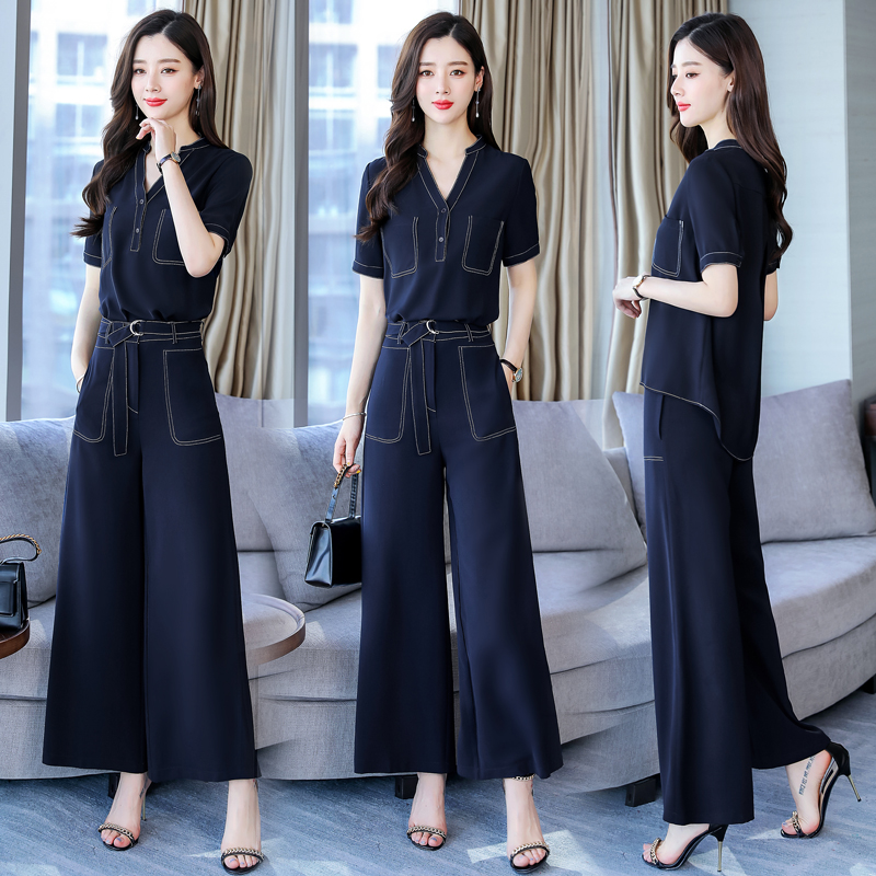 2 Pieces elegant Women Sets 2019 new Spring Autumn Summer solid tops and wide leg pants
