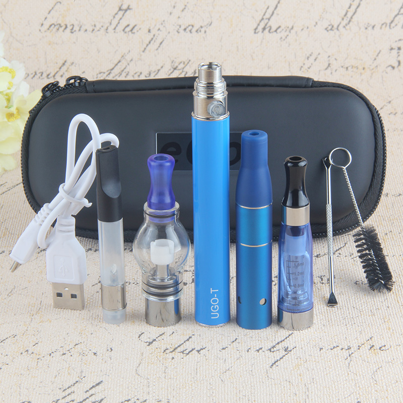 Kingfish Dry Herb vaporizer UGO-T 4 In 1 Vape Pen Electronic cigarette evod Batery with 4 Atomizers Wax atomizer e cigarette Kit