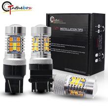 Gtinthebox P21/5 W LEVOU 1157 3157 7443 Lâmpadas Led 3030 led Branco/Âmbar Switchback Carro de condução/luzes de estacionamento e o sinal turnin