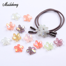 Acrylic Translucent Jelly Beads Colorful Five Petals Plating Flower Accessories for Jewelry DIY Handmade Hair Ornament