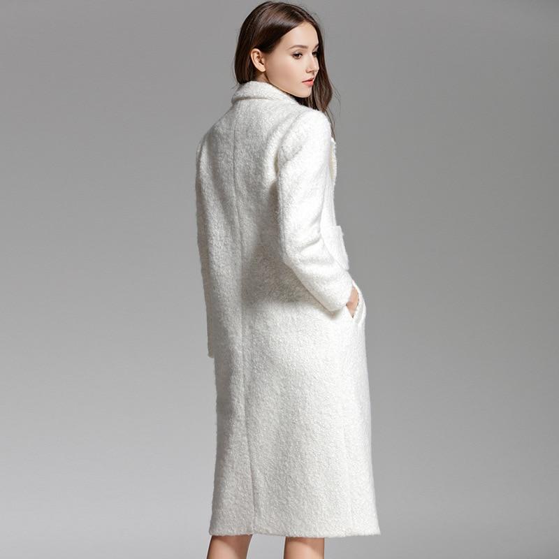 Breasted Longs Manches Plein De Pardessus Blanc Femmes White 2019 Manteaux Poche Top Laine Élégant Hiver Épaissir Outwear Mélange Double gO4qwBBa