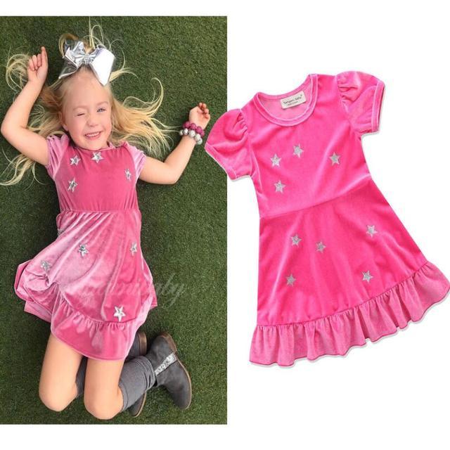 תינוק בנות שמלות קיץ הכוכבים קטיפה קצר שרוול שמלה עם קפלי נסיכת בגדי מסיבת פעוט בגדי ילדים גודל 2 -6