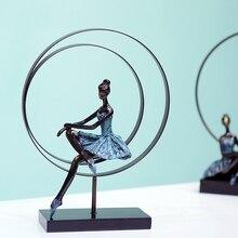 Абстрактный Балетные костюмы для девочек Скульптура ручной работы из кованого железа и смола балерина Статуэтка украшения подарок сувенир орнамент Craftworks