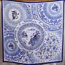 Pure Silk Scarf Women Blue and white Porcelain 90*90CM Laides Square Bandana Sunscreen Shawls Wraps